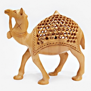 Wooden Jali Pattern Camel Statue Big