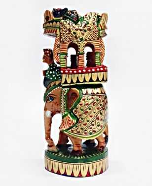 Wooden Painted Round Ambabari Elephant