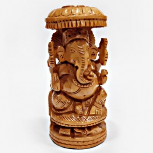 Wooden Umbrella Ganesh 15cm Height