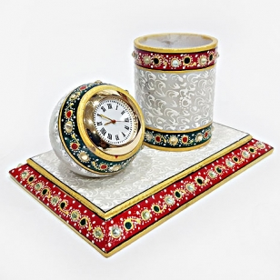 Marble decorative pen holder & clock