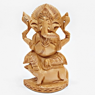 Elegant Wood Carving Ganesh sitting on Mouse