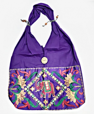 Elephant and Floral Embroidery Shoulder Bag