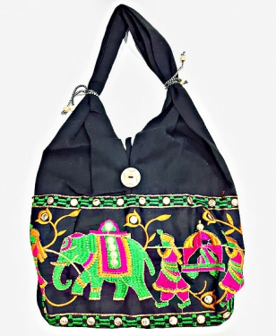 Black Embroidery Shoulder Bag