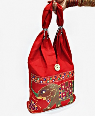 Designer Elephant Embroidered Shoulder Bag