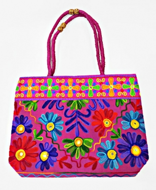 Cotton Embroidered Sling Side Bag