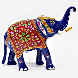 Metal Meenakari Trunk up painted Elephant 6 inch