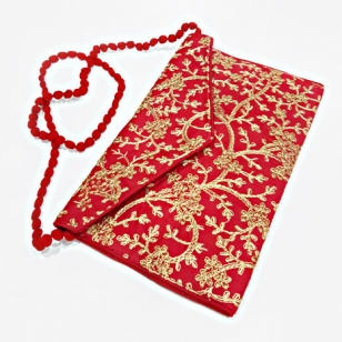 Elegant Zari work Clutch Bag (Red Color)