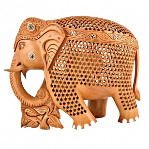 Wooden elephant with fine undercut work