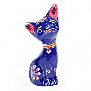 Metal Painted Cat Statue