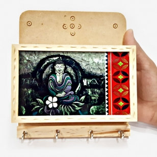 Wooden Key Holder with Modern Buddha Painting