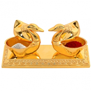 Swan Kumkum Box Golden