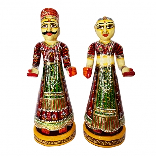 Rajasthani Man & Woman Couple Collectible Figurine