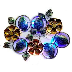 Wall Decor Metal Floral Art with LED Lights