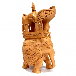 Wood Carving Trunk down Ambabari - 14cm Height
