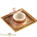 Marble Tray with Round Container
