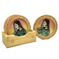 Gemstone Painting Wooden Coaster Set