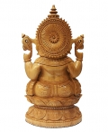 Wood Carving Lotus Ganesh Statue