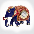 Meenakari Elephant Statue with Clock