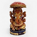 Hand Carved & Painted Wooden Ganesh – 8cm Height