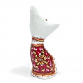 Metal Painted Cat Statue (White)