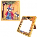 Wooden Miniature Painting Pocket Mirror