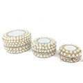 White Beaded Box with Mirror set of 3pc