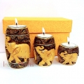 Wooden Carved Candle Holder set of 3pc