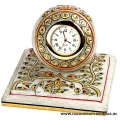 Marble Floral Painted Clock (Square Shape)