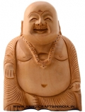 Wooden Carved Laughing Buddha