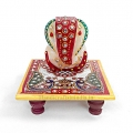 Marble chowki ganesh with 2 peacock design
