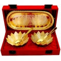 Gold & Silver plated Floral Bowl set with Tray
