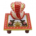 Marble chowki ganesh with red color