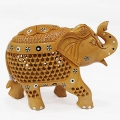 Wooden Jali & Inlaid Trunk up Elephant - 13cm Height