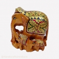 Wooden Baby Elephant Painted