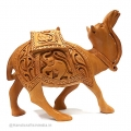 Wooden Floral Carved Camel 6 Inch Height