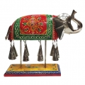 Multicolored Wooden Elephant with Bell