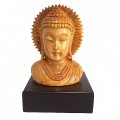 Wooden Carved Buddha on Base