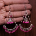 Jhumki Earrings with Pink Beads