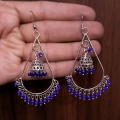 Jhumki Earrings with Blue Beads
