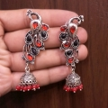 Peacock Earrings with Red & Black Stones