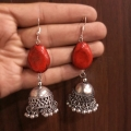Jhumka Earring with Red Stone