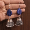 Jhumka Earring with Blue Stone