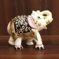 Marble Embossed Painted Elephant Statue