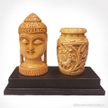 Wooden Carved Pen Holder with Buddha Statue