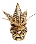 Golden Minakari Pooja Kalash – Coconut with 4 Leaves