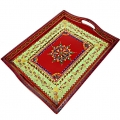 Wooden Embossed Painted Service Tray 15x12
