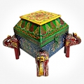Elegant Wooden Painted Elephant Box