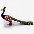Metal Long Tail Painted Peacock (8 inch Length)