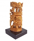 Wooden Floral Carved Ambabari Statue on Base