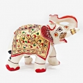Marble Embossed Painted Elephant - Small